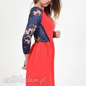 handmade sukienki koralowa sukienka z koronką - ostatnia sztuka rozm. m
