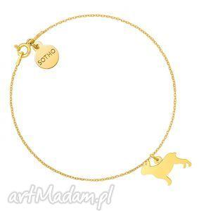 hand made złota bransoletka z buldogiem francuskim