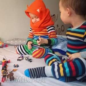 komin z kapturem dla dziecka - lisek, lis, uszy, ciepły, rudy, oranż