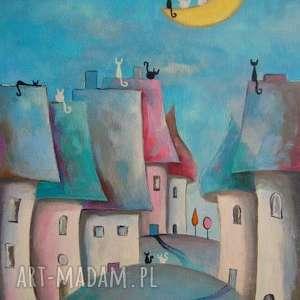 Bajkowe miasteczko, koty, niebieski, szary, czerwony, biały