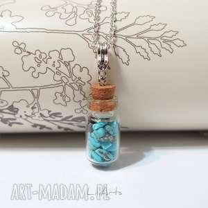 naszyjniki naszyjnik - turkus szklana fiolka, naszyjnik, medalion, wisior