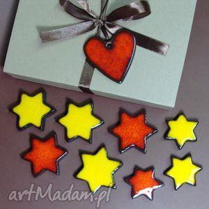 błyszczące gwiazdki, magnesy, świąteczne, gwiazdy, śnieżynki, czerwone