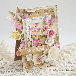 handmade scrapbooking kartki różane życzenia (kartka z pudełkiem)