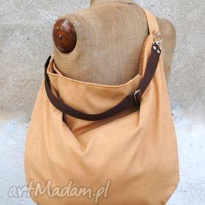 torebki hobo xxl na ramię i skos true colors - miodowa, torba, na, ramię