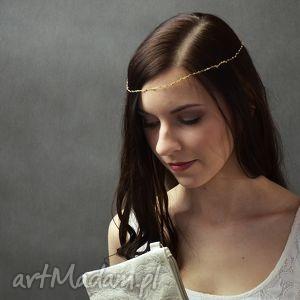 ozdoby do włosów opaska z koralików, opaska, złoto, beż