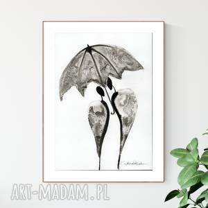 handmade dekoracje grafika a4 malowana ręcznie, minimalizm, abstrakcja czarno-biała