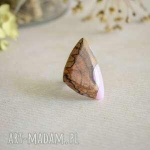 lawendowy pierścionek z drewna i żywicy, pierścionek, regulowany
