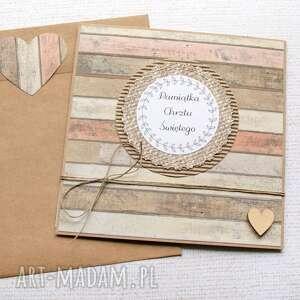 handmade kartki pamiątka chrztu świętego: drewno