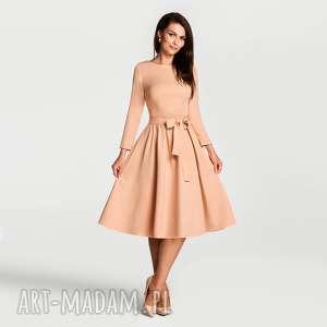livia clue sukienka marie 3/4 midi morelowy, sukienka, midi, rozkloszowana