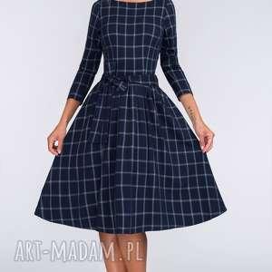 Sukienka MARIE 3/4 Midi Gemma, krata, granat, midi, wiazanie, rozkloszowana, kokarda