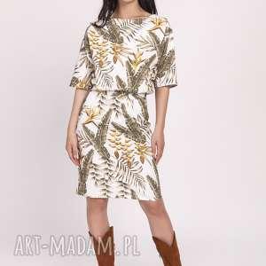 sukienka z dopasowanym dołem, suk123 liście ecru, jasna, jesienna, wiosenna
