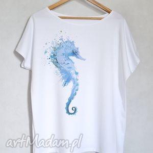 konik morski koszulka bawełniana biała s/m, koszulka, bluzka, nadruk, konik