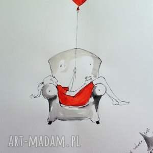 Grafika wykonana akwarelą i piórkiem Flow , grafika, rysunek, kobieta, relaks