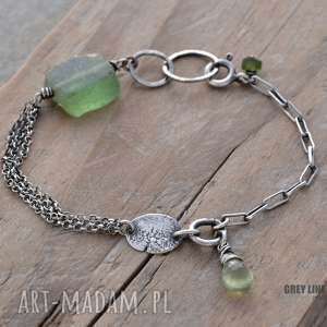 handmade bransoletki bransoletka mini ze szkłem antycznym i frenitem