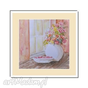 bukiet przy oknie, akwarela, bukiet, kwiaty, obrazy, ręcznie, malowane, pod