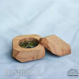 DREWNIANE PUDEŁECZKO NA OBRĄCZKI - GEOMETRYCZNE , ślub, drewniane, mech, pudełeczko
