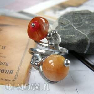 regulowany pierścionek: z agatem i karneolem