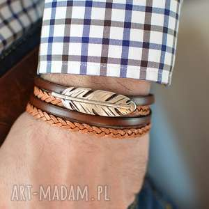 handmade męska bransoletka skórzana magnetoos double feather brązowa