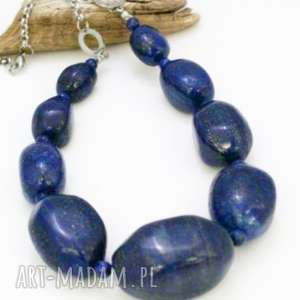 naszyjnik lapis lazuli - naszyjnik, korale, lapis, lazuli, stal, szlachetna
