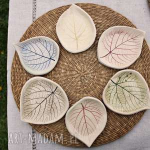 6 ceramicznych liści lipy, podstawki, talerzyki ceramika enio