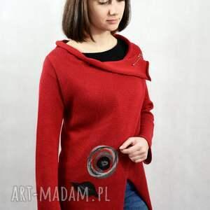 swetry asymetryczny bawełniany kardigan z aplikacją wełnianą, sweter rozpinany