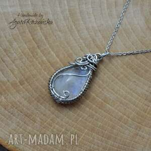 Wisiorek z kamieniem księżycowym ze stali chirurgicznej, wire