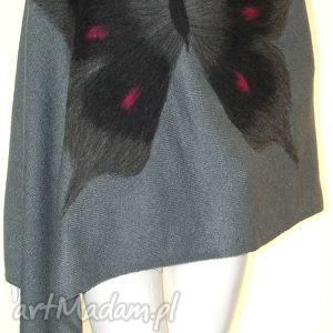 szal wełną zdobiony - wełna, filcowanie, motyle, prezent