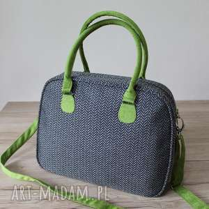 Kuferek weekend - tkanina w jodełkę grey na ramię torebki