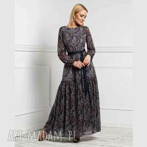 sukienka delia maxi andrea, maxi, długa, rozkloszowana, falbana, wiosna, pod