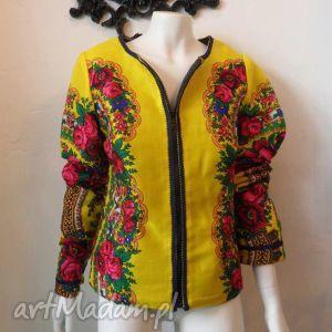 folk design letnia kurtka żółta góralska, chusta