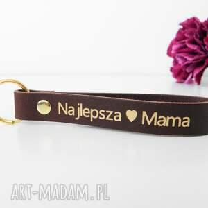 skórzany brelok breloczek do kluczy najlepsza mama - czekoladowy brązowy dzień