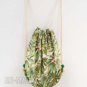 plecak worek xl - ,plecak,worek,tropikalny,liście,torebka,monstera,