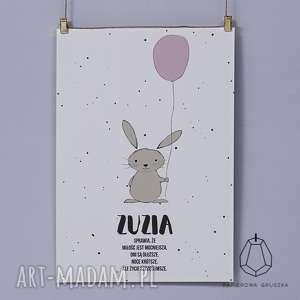 plakat krÓlik z pudrowym balonikiem - plakat, obrazek, balonik, krolik, pokoj, sciane