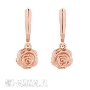 kolczyki z różowego złota z różami, pozłacane