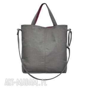 16-0026 szara duża torebka damska z paskiem na ramię jay, duże torby ze skóry