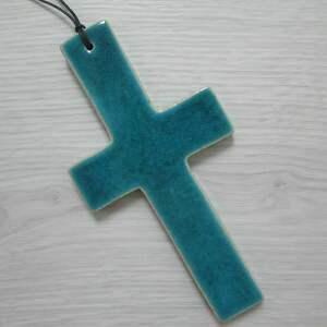 hand-made dekoracje turkusowy krzyżyk ceramiczny