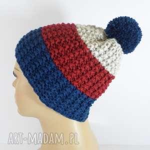 czapki trójkolorowa czapka z pomponem, czapka, pompon, akryl, szmaragd, czerwony
