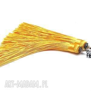 MAXI BOHO /yellow/ - kolczyki , srebro, oksydowane, pozłacane, chwosty, boho