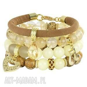 Goldie 4 - brown,gold & cream. - ,kwarc,jaspis,jadeit,swarovski,zawieszka,