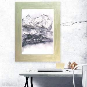 Biało czarny rysunek, obraz z górami, górski pejzaż, rysunek