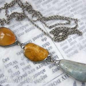 naszyjniki wisior z łańcuszkiem akwamarynem, długi naszyjnik, wisiorek kamieni