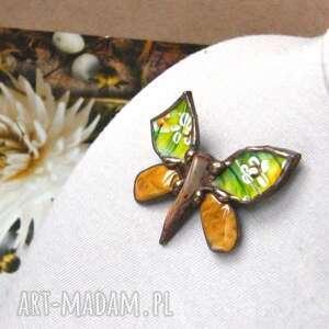 broszka i wisior (2 w 1): motyl malowany, broszka motyl, jaspis, porcelana