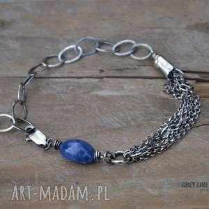 Niebieski szafir i łańcuszki, srebro,