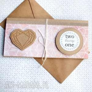 ręcznie zrobione kartki kartka - kopertówka:: geometric heart:: nude