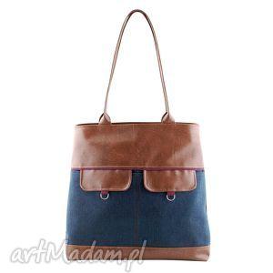 nina - duża torba kasztan, granat i bordo, elegancka, praktyczna, shopper