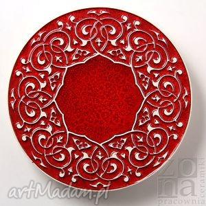 Prezent podstawka barokowa czerwona, podstawka, talerzyk, talerz, ornament