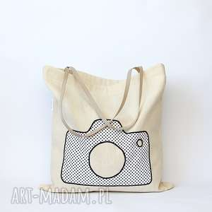 handmade eko torba na zakupy z białym aparatem nie tylko dla fotografki