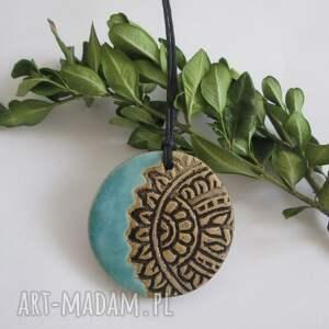 etniczny turkusowy wisiorek - ,etno,wisior,ceramiczny,hippie,