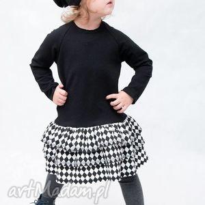 efektowna sukienka czarna z falbankami , bawełna, falbanki, handmade, romby