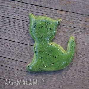ręcznie zrobione magnesy ceramiczny magnes kot zielony